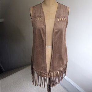 Indigo Thread Co. Faux Suede Fringe Vest NWOT